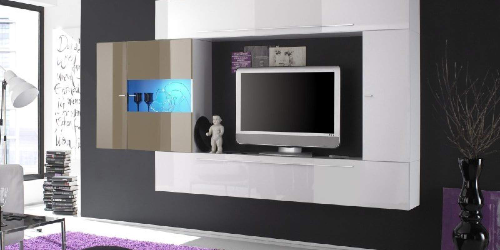 Music studio deco joy studio design gallery best design - Meuble tv mural blanc laque ...