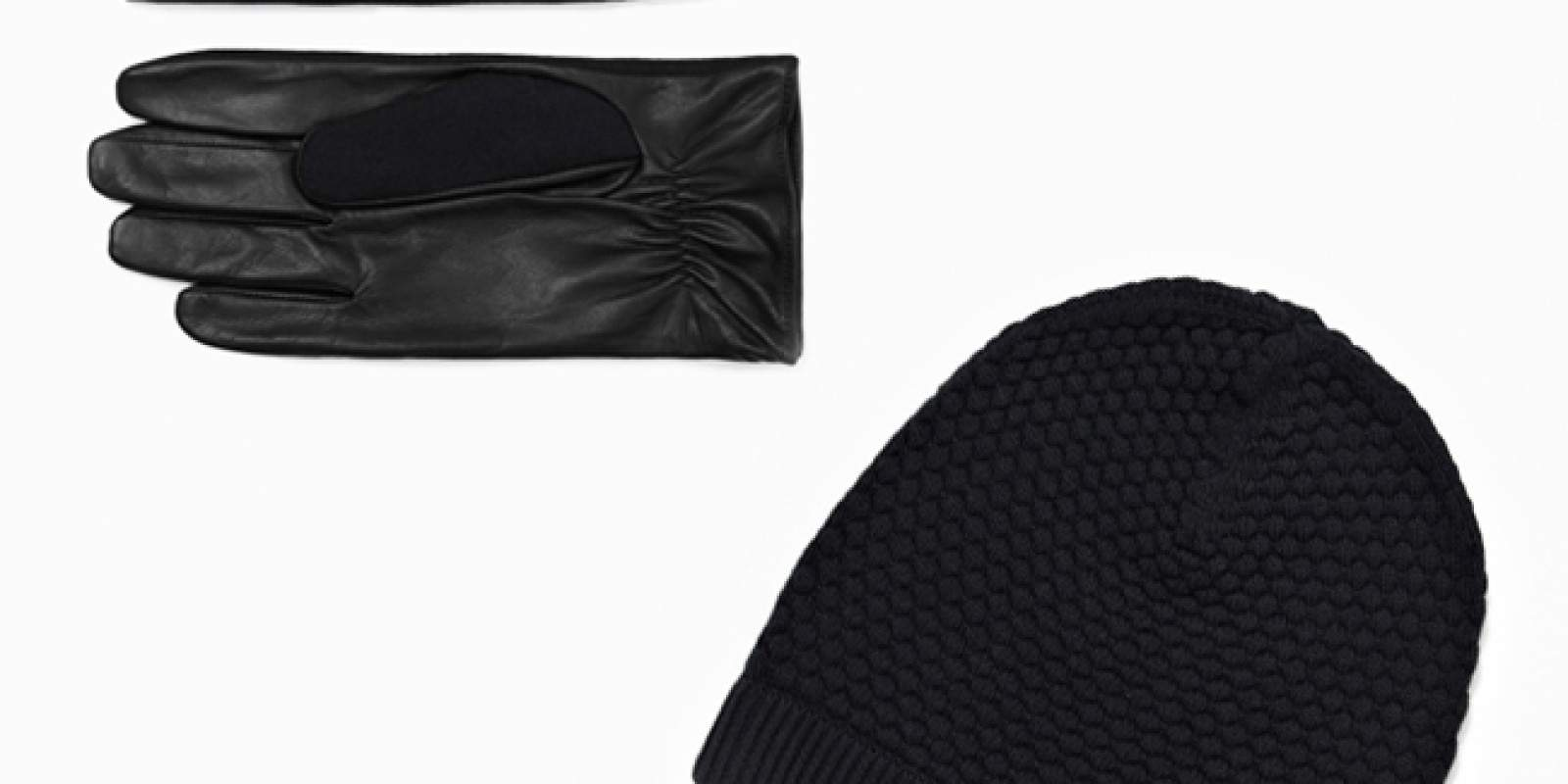 COS Wool and leather gloves & Cotton knit hat
