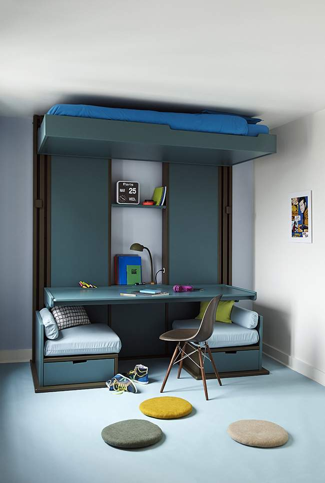 Lit mezzanine espace loggia deco design blog design magazine d coration - Lit mezzanine loggia ...