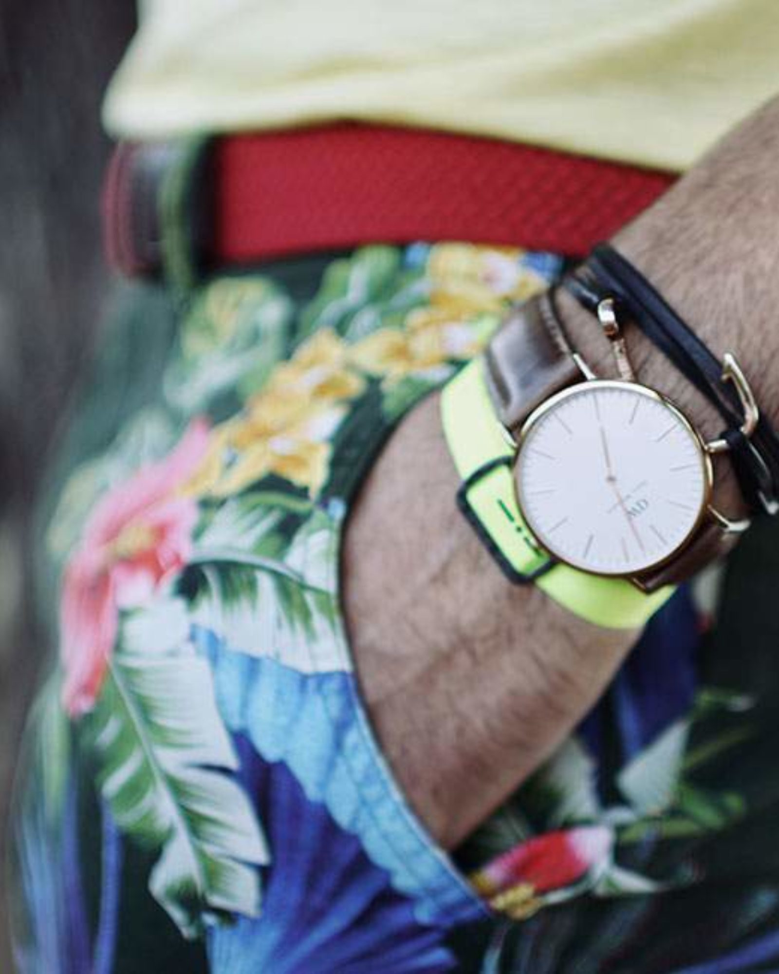 short floral the editor / bracelet miansai / ITALIA INDEPENDENT / montre daniel wellington