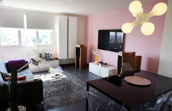 Deco salon gris blanc rose - Salon gris mauve ...